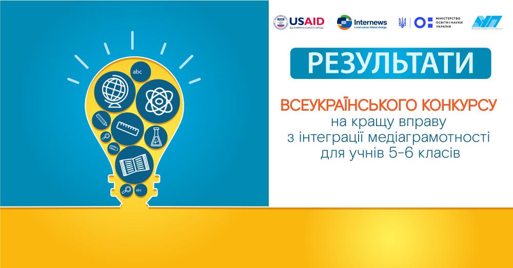 ОГОЛОШУЄМО ПІДСУМКИ Всеукраїнського конкурсу на кращу вправу з інтеграції медіаграмотності для учнів 5-6 класів